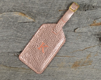Rose Gold Leather Luggage Tag with Personalized Initial - Customized Travel Gift for Bridesmaids