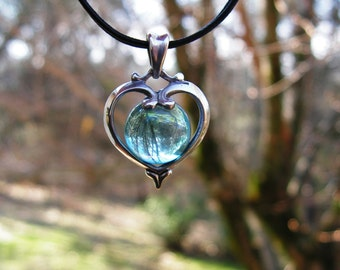 Heart Pendant Sterling Silver With Aqua Aura