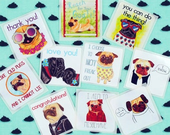 Hipster Stickers, Cool Stickers, Pug Stickers, Cute Dog Stickers, Pug Lover Gift, Pug Print, Pug Stationary, Dog Lover Gift, Dog Stationery