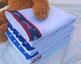 DACHSHUNDs, Burp Cloth Bundle, newborn gift set, 4 coordinating cloths in red and blue