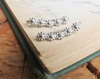 Daisy Flower Ear Climbers Sterling Silver Ear Sweep Earrings