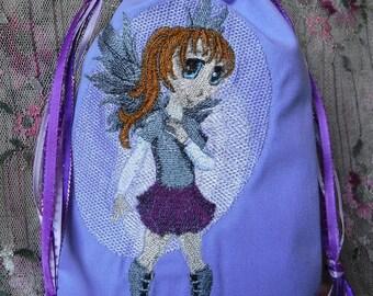 Drawstring Bag, Tarot Bag, Anime Fairy, Embroidered Tarot Bag, Wicca Pagan, Gift Bag, Purple Gray, Rune Bag, Oracle Divination, Tarot Deck