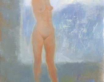 Nude Against the Window, figurative oil painting