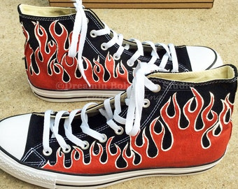 Custom Converse Shoes, Red Hot Rod Flames Chuck Taylors, Painted Flame matches Customized Car, Swap Meet, Drag Racing, Gift motor enthusiast