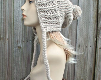 Linen Cream Slouchy Pom Pom Hat - Cream Hat Cream Beanie Slouchy Hat Slouchy Beanie Winter Hat Womens Hat - Charlotte