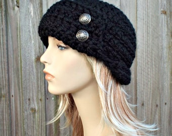 Black Beanie - Womens Crochet 1920s Flapper Hat - Garbo Cloche Winter Hat with Silver Buttons