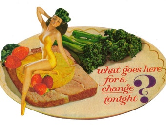 Humorous Food Art, Retro Pinup, Sexy Food Porn, Swimsuit Pin Up Artwork, Paper Collage Original, Strange Wall Art, Funny Foodie Gift