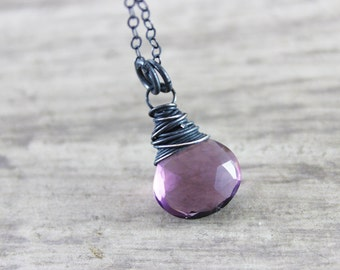 Dark Purple Necklace, Purple Quartz Gemstone Necklace, Mauve Pendant Necklace, Sterling Silver Necklace, Black Oxidized Necklace, Wire Wrap