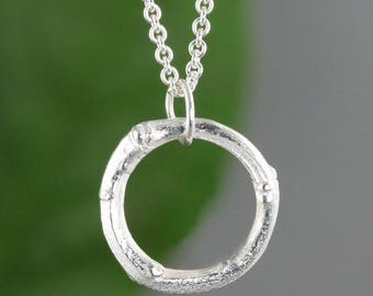 Sterling Silver Twig Circle Branch Necklace - Natural Organic Twig Nature Pendant - Gift for Nature Lovers - Small Pendant - READY TO SHIP