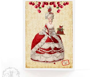 Marie Antoinette, Christmas card, red cherries, plum pudding, holly, mistletoe and robin, French, holiday card