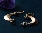 Luna Rose Gold Crescent Moon Earrings / Crescent Moon Rose Earrings / Boho Chic