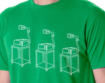 funny t-shirts, graphic tees, overhead projector, humor, bizarre, screen printed t-shirts, hipster, trendy, retro, vintage, smart, gift