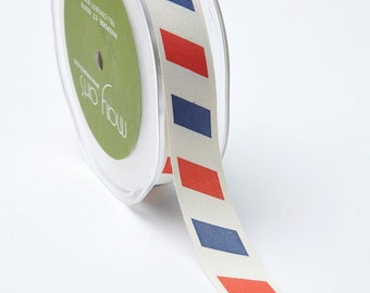MAY ARTS Ribbon - 1 yard - 3/4 Inch Ivory canvas w/ Print – Red/Blue Postal - SKU: 413-34-12