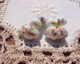 Snowy White Millefiori Vintage Japanese Glass Beads