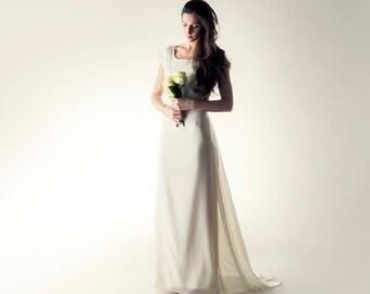 Wedding dress, tunic wedding dress, Simple wedding dress, A-line wedding dress, Pagan wedding dress, Boho wedding dress, Silk wedding dress