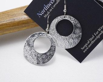 Aluminum earrings surgical steel ear wires