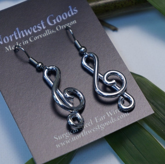 Aluminum treble clef note earrings