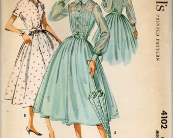 McCall's 4102 Shirtwaist Dress Full Gathered or Pleated Skirt, Lace Trimmed Front & Back Bodice ©1957