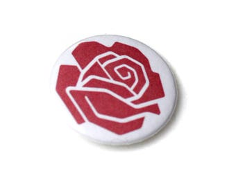 Democratic Socialist Rose Pin Back Button