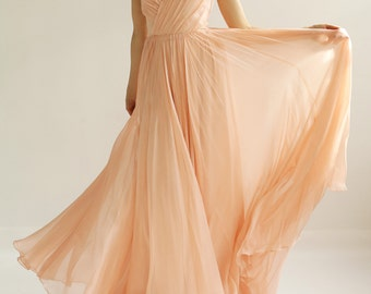 Sample Sale - pink silk chiffon wedding gown