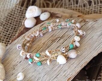 Summer Bracelet, Puka Shell Bracelet, Crocheted Wrap Bracelet, Stacking Bracelet, Multi Strand Bracelet, Bracelet Wrap, Beach Bracelet