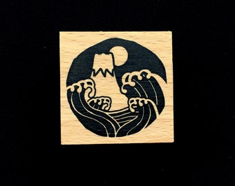 New Year Rubber Stamp -  Mount Fuji Stamp- Moon And Waves - Traditional Japanese Rubber Stamp