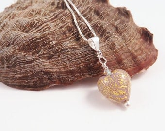 Gold and Mauve Murano Glass Heart Pendant on Silver Chain, Mother's Day Gift for Her, Jewelry for Woman or Girl, Romantic Gift