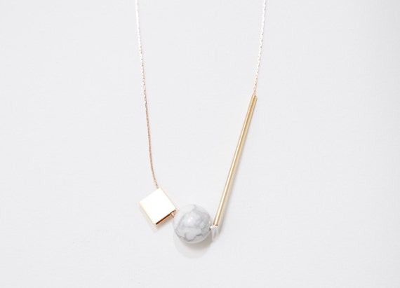 Marble Stone Jewelry : Gold plated minimalist necklace marble stone jewelry