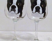 Black & White Boston Terrier Dog Wine Glasses set of 2 Hand Painted by Pet  Lovers Boutique
