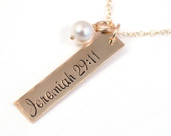Jeremiah 29:11 Necklace - 14k Gold Fill and Freshwater Pearl - Scripture Necklace - Life Verse Jewelry