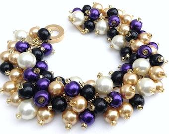 Purple Black Ivory and Gold Bracelet, Pearl Beaded Jewelry, Bridesmaids Jewelry, Winter Wedding Theme, Everyday Chunky Bead Jewelry, Cluster