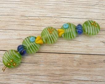 Fish beads Handmade Lampwork Glass Bead Set Sea Ocean Sea shore Sand Beach Nautical Pressed button Artisan bead SRA GenerationsLampwork