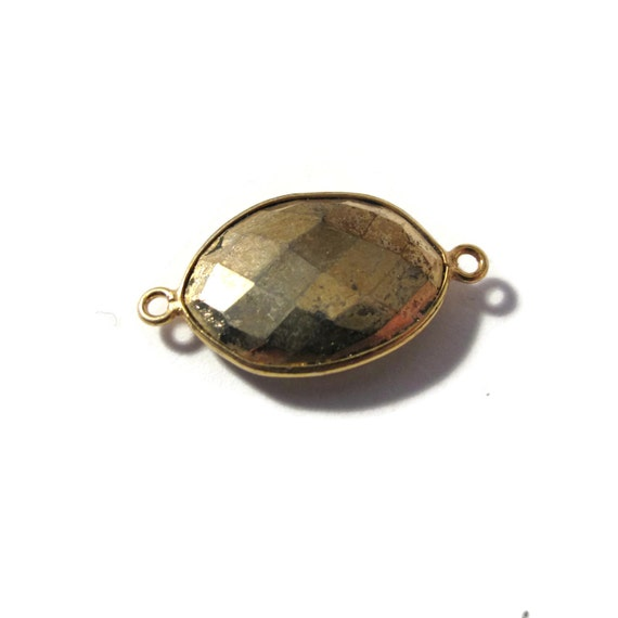 Irregular Pyrite Charm, Fool's Gold Pendant with Gold Plated Bezel, Faceted Double Sided Gemstone, Two Loops (C-Py3b1)