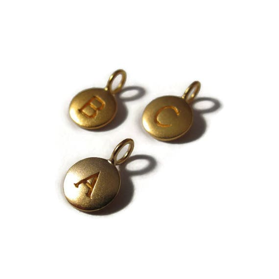 Round Initial Charm, Vermeil, Matte Gold, 24k Gold Plate over Sterling, Letter Charm, Alphabet Pendants for Jewelry Making (VGA4)