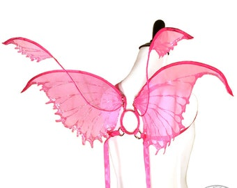 Tyche No. 15 - Small Glitter Fairy Wings in Hot Pink - Strapless Convertable