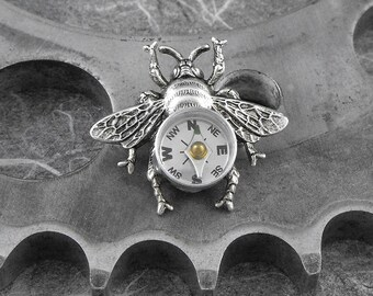 Steampunk Compass Bee Silver Brooch - Flight of the Travelling Bumblebee by COGnitive Creations