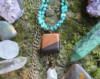 Wood & Stone Beaded Pendant Necklace - Turquoise with Moon Luna Crescent - Natural Earthy - Long Bohemian Gypsy Style Crystal Hippie Wooden