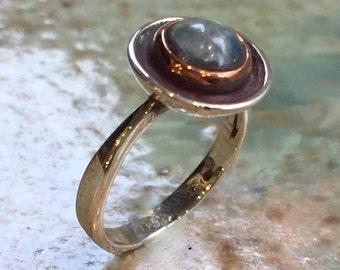 Silver Rose gold Ring, Statement Ring, Labradorite Ring, Gemstone Ring, green blue Ring, modern engagement ring - The morning after R2428