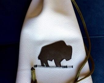 buffalo motif, grommeted heavy duty leather drawstring pouch