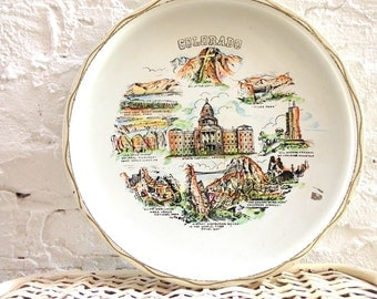 1950's Colorado State Tray in White and Gold . Antique Colorado Plate . Denver Rocky Mountains Pikes Peak . Coloradical . Large Steel