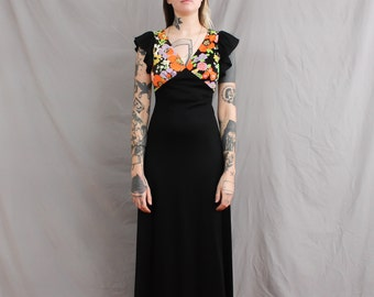 70's Black Maxi Dress with Neon Floral in Medium or Large . Exposed Back . Summer Wedding Guest Dress . Ruffle Butterfly Sleeves Pop Art