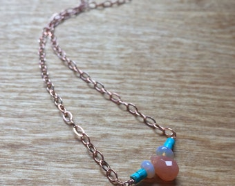 Carnelian, Opal and Turquoise in Rose Gold