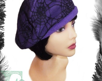 Sample Sale - Fleece & Spider Web Lace Beret, 22 inch head circ