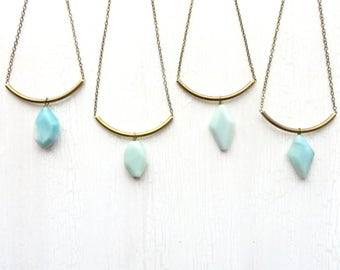 Modern Necklace / Amazonite Necklace / Gemstone Necklace / Boho Necklace / Slide Necklace / Chain Necklace / Handmade / Gift Idea for Her