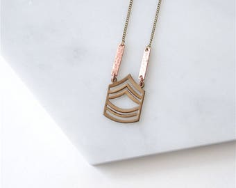 Chevron Pendant. US Army Master Sergeant. Geometric Jewelry Boho Style. Patriotic Symbol. Gift for Army Wife. US Military Charm Necklace.