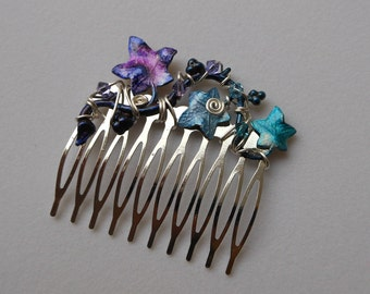 Ivy Leaves Hair Comb -- Pink, Purple, Blue, Teal Ivy Leaves, Silver Wire, Swarovski Crystals, Silver Comb, Wire wrapped, Wedding Hair Vine