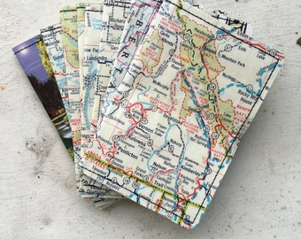 Slim Wallet- Vintage Canada Maps and Postcard- Choose 1