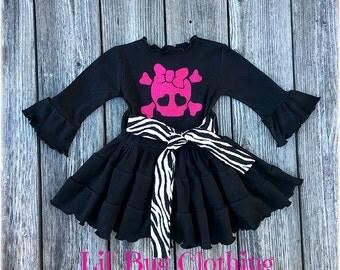 Pink Glitter Pirate Skull Girls Dress, Pirate Skull Birthday Party Dress, Zebra Print Pirate Dress, Pirate Birthday Party