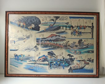 Extra large vintage Japanese woodblock- Ando Hiroshige - 10 various scenes - large art with glass frame