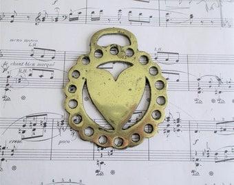 Vintage Heart Horse Brass
